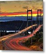 Sunset Over Narrows Bridges Metal Print