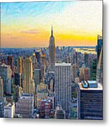 Sunset Over New York City Metal Print by Mark E Tisdale