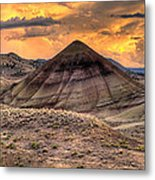 Sunset Over Painted Hills In Oregon Metal Print