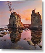 Sunset Over Pig And Sow Inlet At Oregon Coast Metal Print