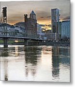 Sunset Over Portland City Skyline Panorama Metal Print