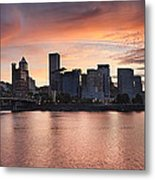 Sunset Over Portland Oregon Waterfront Panorama Metal Print