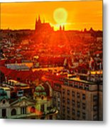 Sunset Over Prague Metal Print