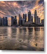 Sunset Over Singapore Skyline Metal Print