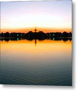 Sunset Over Still Waters Mirror Image Metal Print