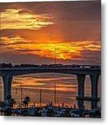 Sunset Over The Bridge Metal Print