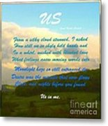 Sunset Over The Dales With Poem Metal Print