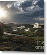 Sunset Over The Firehole River - Yellowstone Metal Print