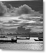 Sunset Over The Gulf Of Thailand Black And White Metal Print