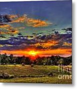 Sunset Over The Hay Field Metal Print