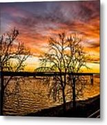 Sunset Over The Mississippi River Metal Print
