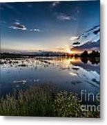 Sunset Over The River Metal Print by Steven Reed