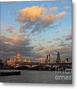 Sunset Over The River Thames London Metal Print