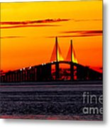 Sunset Over The Skyway Bridge Crop Metal Print
