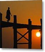 Sunset Over The U Bein Foot Bridge Metal Print