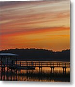 Sunset Over The Wando River Metal Print