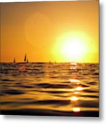 Sunset Over The Water In Waikiki Metal Print