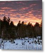 Sunset Over The Winter Forest Metal Print