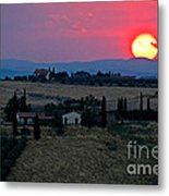 Sunset Over Tuscany In Italy Metal Print