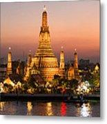 Sunset Over Wat Arun Temple - Bangkok Metal Print