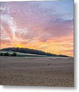 Sunset Over Wheat Metal Print