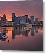 Sunset Over Willamette River Along Portland Waterfront Metal Print