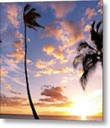 Sunset Palm Trees In Hawaii Metal Print