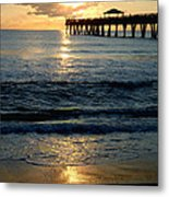 Sunset Pier Metal Print by Carey Chen