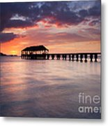 Sunset Pier Metal Print by Mike  Dawson