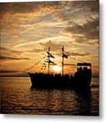 Sunset Pirate Cruise Metal Print