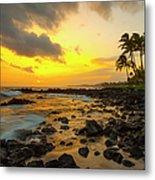 Sunset, Poipu, Kauai, Hawaii, Usa Metal Print