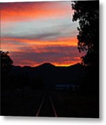 Sunset Rail In The Rogue Valley Metal Print