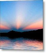 Sunset Rays Over Island Metal Print