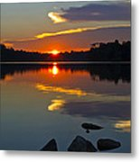 Sunset Reflection On The Lake Metal Print