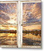 Sunset Reflections Golden Ponds 2 White Farm House Rustic Window Metal Print
