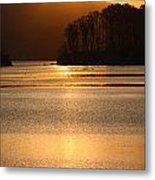 Sunset Reflections Tomales Bay In Marin County California Metal Print