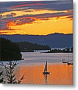 Sunset Sail In The Bay Metal Print