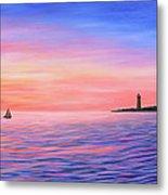 Sailing Toward The Lighthouse Metal Print