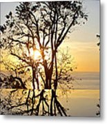Sunset Silhouette And Reflections Metal Print