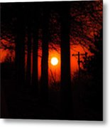 Sunset Silhouette Painterly Metal Print
