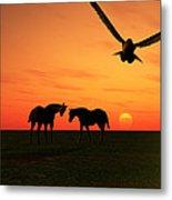 Sunset Silhouettes Four Metal Print