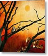 Sunset Sitting Metal Print by Lourry Legarde