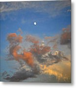 Sunset Sky With Gibbous Moon And Clouds Usa Metal Print