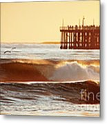 Sunset Surf Santa Cruz Metal Print by Paul Topp