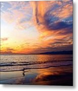 Sunset Surfing Metal Print