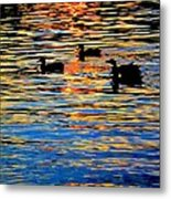 Sunset Swim Metal Print