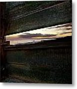Sunset Throough The Fence Metal Print