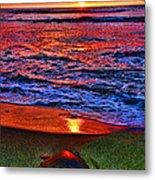 Sunset Turtle By Diana Sainz Metal Print