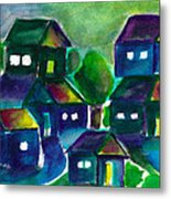 Sunset Village Watercolor Metal Print