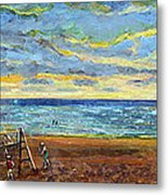 Sunset Volleyball At Old Silver Beach Metal Print